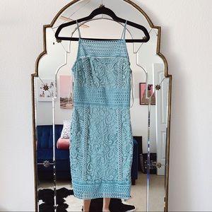 Topshop teal blue lace bodycon mini dress